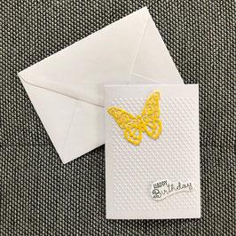 """Geburtstagskarte """"Schmetterling gelb"""""""
