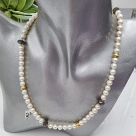 Perlenkette mit Labradorit und Schmuckelementen aus 925 Sterlingsilber/20 Mikronen Feingoldplatierung