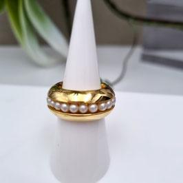 Kado Edelstahlring goldfarbig mit Perlenring drehbar