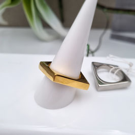 M&M Ring Squere eckig vergoldet