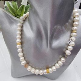 Perlenkette mit Labradorit, Rosenquarz  und Schmuckelementen aus 925 Sterlingsilber/20 Mikronen Feingoldplatierung