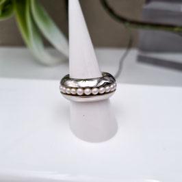 Kado Edelstahlring mit Perlenring drehbar