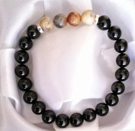 Bracelet Obsidienne + Agate Crazy Lace + argent 925