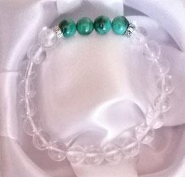 Bracelet Cristal de roche + Malachite