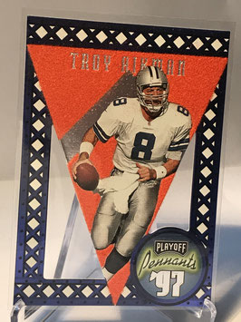 Troy Aikman (Cowboys) 1997 Playoff Pennats Orange Blue Felt #19