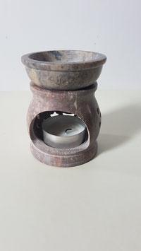 Aromalampe aus Speckstein mit Sterne-Mond Muster 8 cm