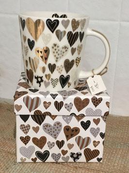 Tasse mit Herz in schwarz/gold inkl. Schachtel und Servietten