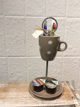 Etagere für Kaffee und Zucker, beige getupft, Artikel 3006