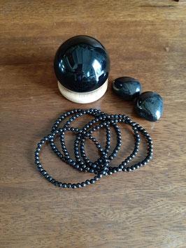 Bracelet en perles de Jais 4 mm