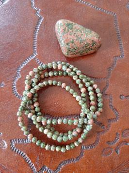 Bracelet en perles d'Unakite 4 mm