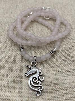 Einhorn Silber mit Rosenquarz