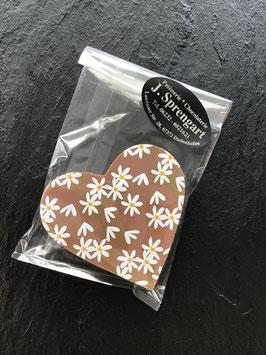 Vollmilch Schokoladenherz 35 % Kakao - mit Gänseblümchenmuster- 28 Gramm
