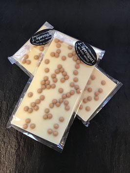 Weiße Schokolade 35 % mit Karamellperlen - 95 Gramm