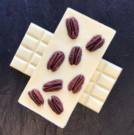 Weiße Schokolade 35%  mit karamellisierten Pekannüssen - 95 Gramm