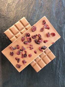 Vollmilch Schokolade 35% mit getrockneten Cranberries - 95 Gramm