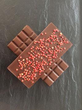 Zartbitter Schokolade 55% mit Rosa Beeren - 95 Gramm