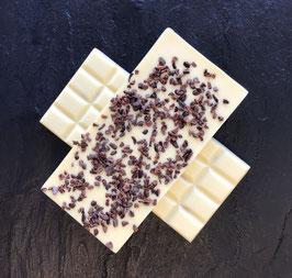 Weiße Schokolade 35% mit Kakaobruch  - 95 Gramm