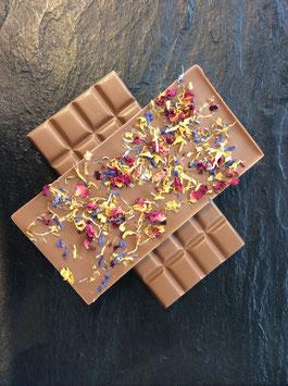 Vollmilch Schokolade 35% mit Blütenmix - 95 Gramm
