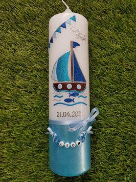 Taufkerze Boot TK314-U Hellblau-Türkis-Dunkelblau Holoflitter / Wimpelkette