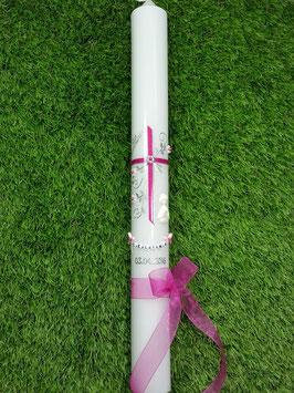 Kommunionkerze - Konfirmationskerze Mädchen KK130 Pink Flitter