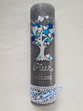 Vintage Rustic Taufkerze Lebensbaum TK405-V / Kerze in Anthrazit / Hellblau-Pastellblau-Türkis-Dunkelblau-Silber Holoflitter