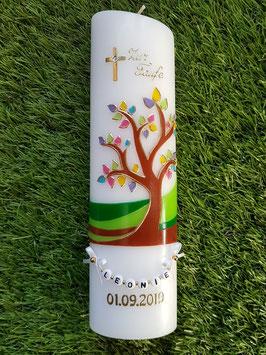 Taufkerze  Lebensbaum mit Buchstabenkette & ohne Band TK400 / Goldverzierung