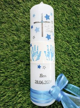 Taufkerze TK095-6 Große Hände Hellblau-Türkis Holoflitter