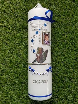 Taufkerze SK154-1 SCHUTZENGEL sitzend mit Sterne in Dunkelblau-Anthrazit Holoflitter & Schmale Bänder / mit Foto