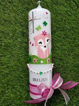 Taufkerze TK209 Fuchsmädchen Rosa-Pink-Apfelgrün Holoflitter mit Silber / Buchstabenkette