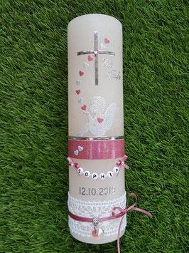 Vintage Taufkerze Silhouetten Schutzengel SK154-1-V mit Herzen / Kerze in Apricot / Silber-Altrosa Holoflitter