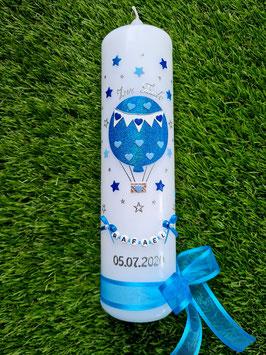 Taufkerze TK105 Heißluftballon in Türkis-Hellblau-Dunkelblau Holoflitter/Sterne um die ganze Kerze