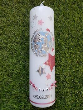 Taufkerze KSK320 Altrosa-Rosa- Silber Holoflitter