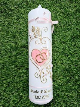 Hochzeitskerze klassisch HK208 Rosa Uni/Gold