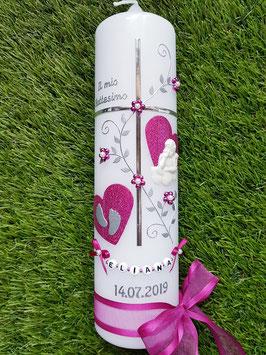 Taufkerze Kreuz TK109-1 Pink Holoflitter & Buchstabenkette