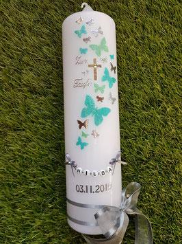 Taufkerze TK089-5 Schmetterlings-Schwarm in Mint-Zartmint-Silber Holoflitter / Buchstabenkette