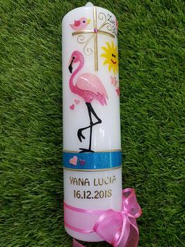"Taufkerze TK269 ""Flamingo mit Sonne"" in Fuchsia-Rosa Holoflitter mit Goldverzierung"