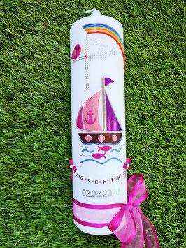 "Taufkerze TK314-1 ""Boot"" Pink-Altrosa-Brombeerlila Holoflitter / Regenbogen"