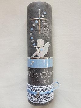 Vintage Taufkerze Silhouetten Schutzengel SK154-1-V mit Herzen / Kerze in Anthrazit / Silber-Hellblau Holoflitter