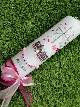 Taufkerze TK099 Babychucks Pink-Rosa-Anthrazit Flitter