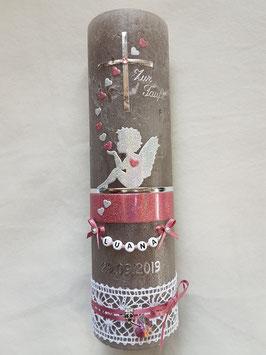 Vintage Taufkerze Silhouetten Schutzengel SK154-1-V mit Herzen / Kerze in Taupe / Silber-Altrosa Holoflitter