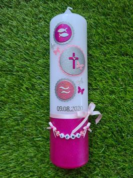Taufkerze Symbole TK306-U in Pink-Rosa-Altrosa-Silber Holoflitter / Fische-Kreuz-Wellen / Buchstabenkette