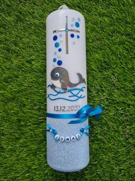 Taufkerze Babywal TK115-a-FU Hellblau-Türkis-Dunkelblau-Silber Holoflitter / Holoflitteruntergrund Hellblau
