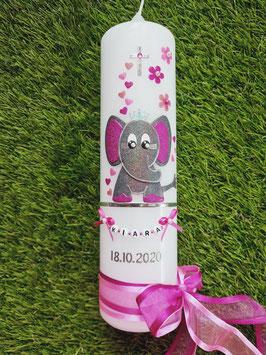 Taufkerze Elefant TK210-10 Anthrazit-Pink-Rosa-Altrosa Holoflitter / Silberstreifen