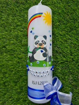 Taufkerze TK196 Panda Junge Schwarz-Weiß-Dunkelblau Holoflitter & Buchstabenkette / Grasgrün Holoflitter / Regenbogen