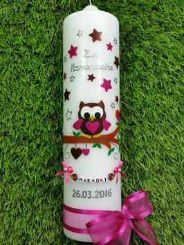 Kerze zur Namensweihe EULE das Original mit Buchstaben-Kette TK181 in Braun-Pink Flitter