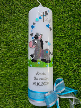 Taufkerze Esel TK262 Anthrazit-Türkis-Hellblau Holoflitter & Silberschrift
