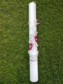 Kommunionkerze Kreuz TK109 Zartrosa-Pink Holoflitter & Silber / Engel & Schmetterlinge