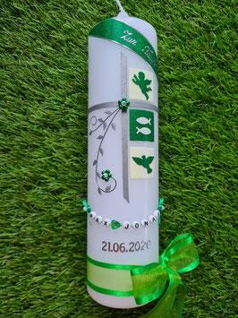Taufkerze TK108-5 Klassisch Grasgrün-Creme Holoflitter
