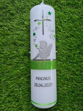 Taufkerze SK154-1 SCHUTZENGEL sitzend mit Sterne in Apfelgrün-Grasgrün Holoflitter & Schmales Band / Silberschrift