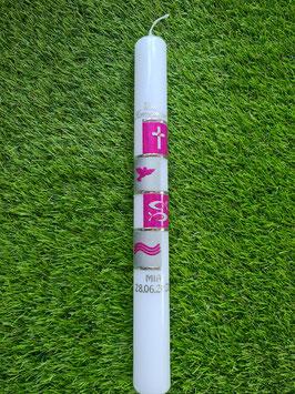 Kommunionkerze oder Konfirmationskerze KK298 Pink Holoflitter / Fische